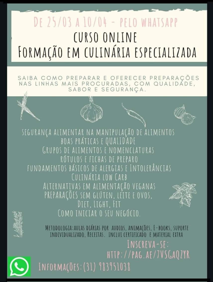 Curso online de Formação em Culinária Especializada